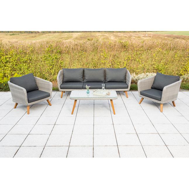 Details Zu Gartenmobel Lounge Set Merxx Toscanella Retro Design Tisch Sessel Bank Grau